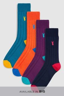 Lot de quatre paires de chaussettes épaisses côtelées
