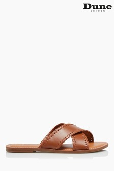 Dune London Brown Lindsy Cross Strap Whip Stitch Sandals
