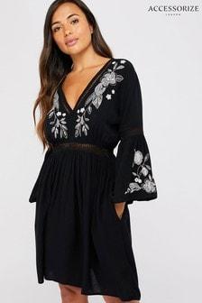 Accessorize Black Mono Embroidered Dress