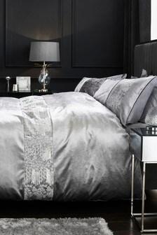Velvet Sequin Panel Duvet Cover and Pillowcase Set
