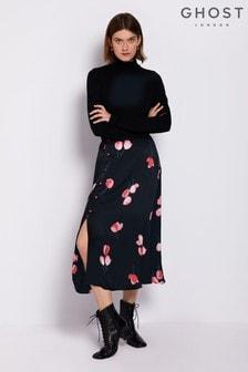 Ghost London Black Louisa Printed Satin Skirt