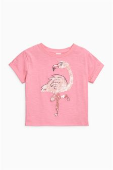 T-Shirt mit Flamingo-Paillettenbesatz (3-16yrs)