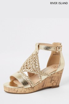 River Island Gold Metallic Wedge