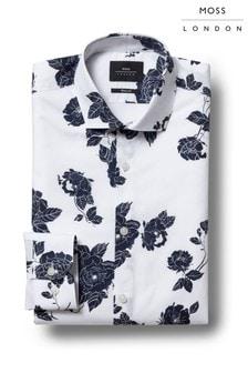 Chemise skinny Moss London imprimé roses bleu marine à manchette simple
