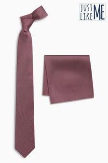 Komplet svilene kravate in robčka za moško obleko