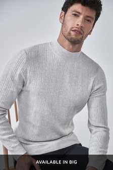 Italian Textured Stripe Turtle Neck Jumper