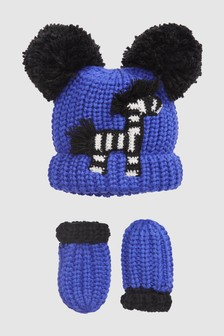 Zebra Hat And Mitts Set (Younger)