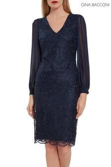 Gina Bacconi Blue Mozelle Embroidered Lace Dress