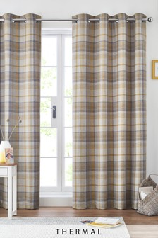 Dalton Check Thermal Eyelet Curtains