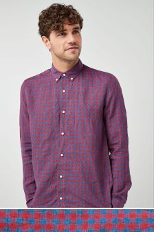 Long Sleeve Pure Linen Gingham Shirt