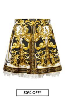 Girls White, Black & Gold Baroque Silk Skirt