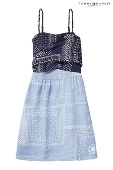 Tommy Hilfiger Girls Blue Sunny Bandana Print Dress