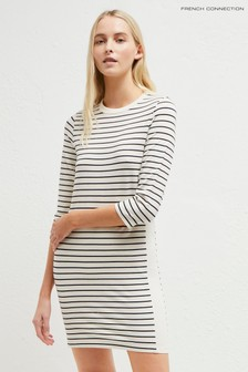 French Connection Cream Striped Colourblock Dress