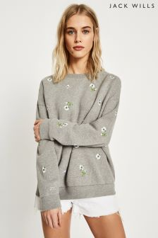 Jack Wills Grey Marl Nettleton Embroidered Sweatshirt