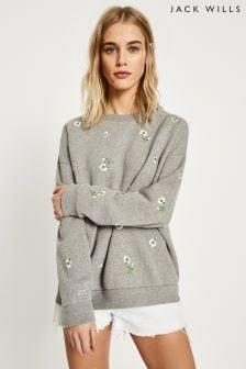 Jack Wills Grey Marl Nettleton Embroidered Sweatshirt