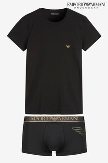 Armani Black/Gold Boxer T-Shirt Set