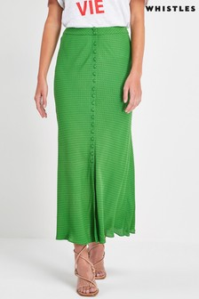 Whistles Green Spot Button Skirt