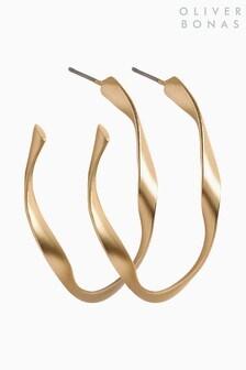 Oliver Bonas Gold Tone Patti Matte Twist Hoop Earrings