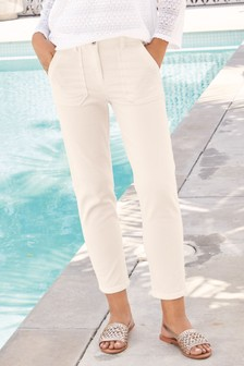Button Front Crop Trousers