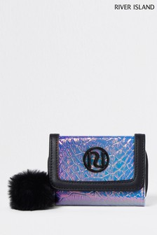 River Island Pink Holographic Trifold Purse