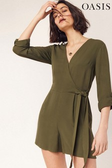 Oasis Green Wrap Playsuit