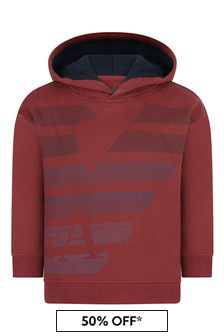 Emporio Armani Boys Red Cotton Hooded Sweater
