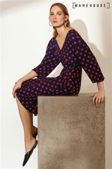 Warehouse Red Navy Spot Wrap Dress