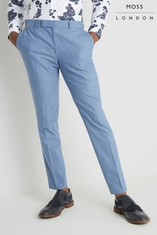 Moss London Skinny Fit Chambray Unstructured Trouser