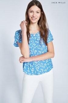 Jack Wills Eden Gewebtes T-Shirt mit Muster, Blau