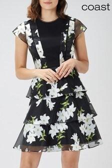 Coast Black Jennifer Short Tiered Dress