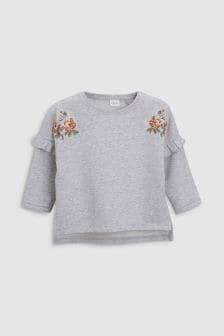 סוודר רקום עם פרחים (3 חודשים-6 שנים)