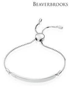 Beaverbrooks Children's Mini B Silver Diamond ID Bracelet