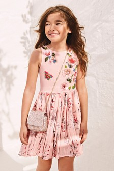 Rose Print Embellished Dress (3-16yrs)