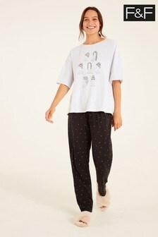 F&F Grey Long Hair Jersey Pyjamas