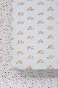 Lot de 2 draps-housses à imprimé arc-en-ciel