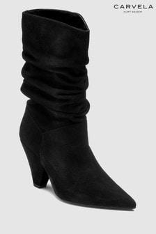 מגפיים באורך בינוני מזמש של Carvela דגם Scrunch בצבע שחור