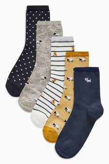 Animal Pattern Ankle Socks Five Pack