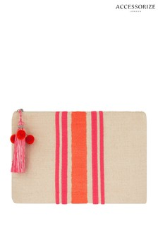 Accessorize Nude Sorrento Embroidered Stripe Washbag
