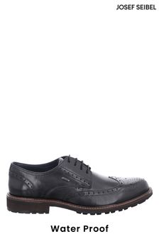 Josef Seibel Black Jasper Leather Waterproof Lace-Up Shoes