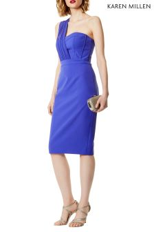 Karen Millen Blue One Shoulder Bustier Dress