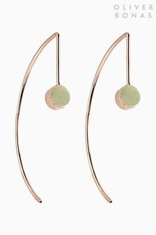 Oliver Bonas Gold Tone Kauri Enamel Dot Hoop Earrings