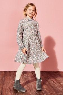 Платье-рубашка в цветочек (3-16 лет)