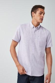 Рубашка из смеси льна, с коротким рукавом