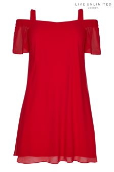 Live Unlimited Red Bardot Swing Dress