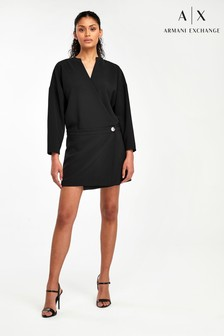 Armani Exchange Black Tuxedo Wrap Dress