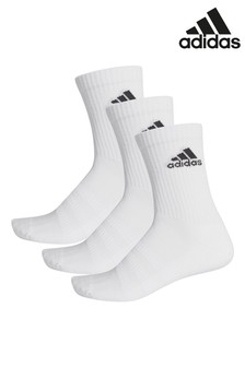 adidas Adult White Crew Sock Three Pack
