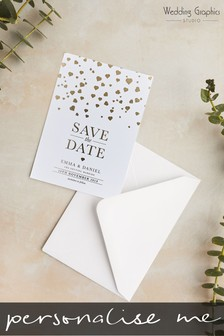 Personalised Confetti Foil Save The Date Card by Wedding Graphics