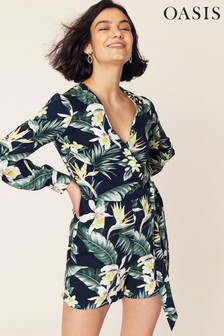 Oasis Blue Palm Sleeved Wrap Playsuit