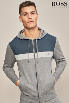 BOSS Grey/Navy Colourblock Zip Through Hoody