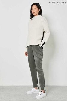 Mint Velvet Khaki Satin Cupro Trousers